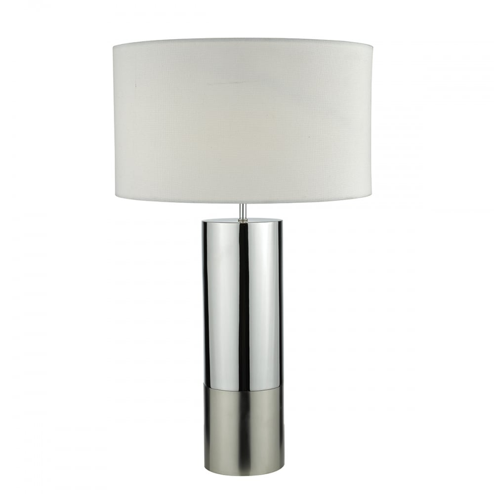 Contemporary Two Tone Polished And Brushed Chrome Table Lamp W Shade