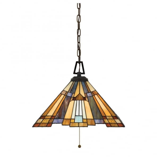 Inglenook Tiffany Ceiling Pendant With Bronze Suspension And Art Deco Glass Panel Shade