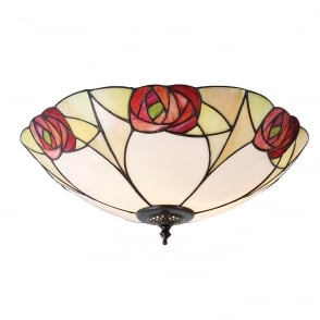 Flush tiffany ceiling light with amber and red art glass shade ingram tiffany art nouveau flush light for low ceilings aloadofball Image collections