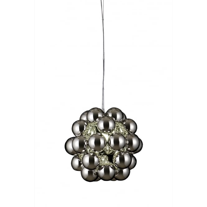 BEADS PENTA modern polished chrome globe cluster pendant