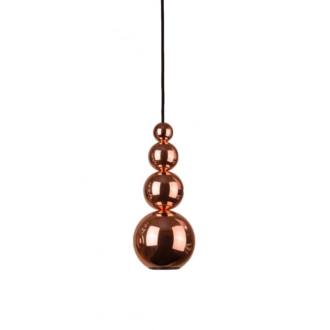 BUBBLE modern stacked sphere ceiling pendant in a copper finish