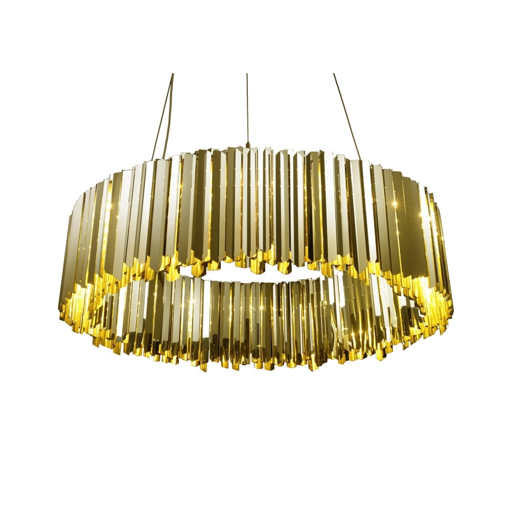 Facet 100 modern chandelier pendant in polished brass