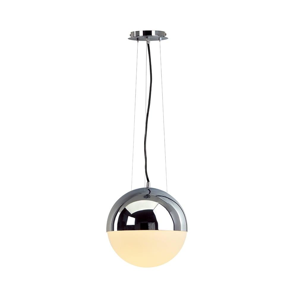 Big Light Eye Circular Ceiling Pendant In Chrome Amp Opal Glass