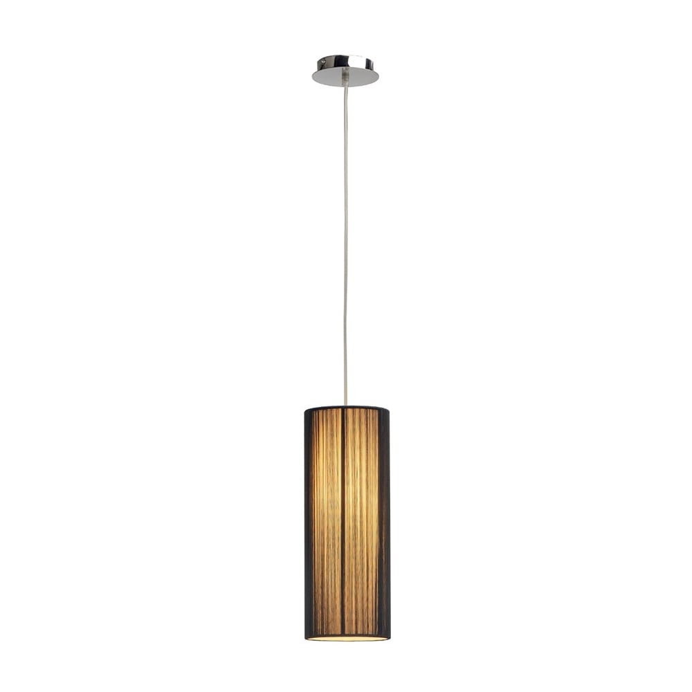 Black Slimline Tube Shaped Ceiling Pendant For High Ceilings