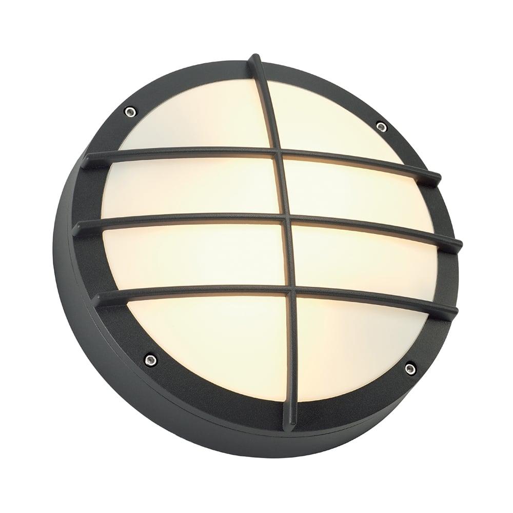 Black circular exterior garden wall light in nautical style for Suspension exterieure avec detecteur