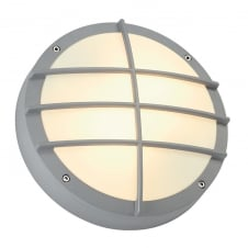 BULAN silver grey circular garden wall light