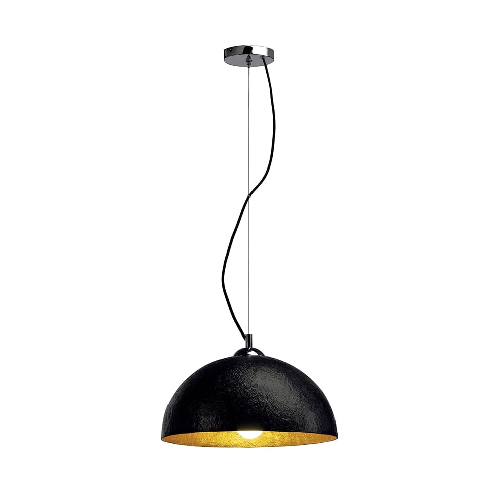 Big white ceiling lights : Black ceiling pendant light with gold lining