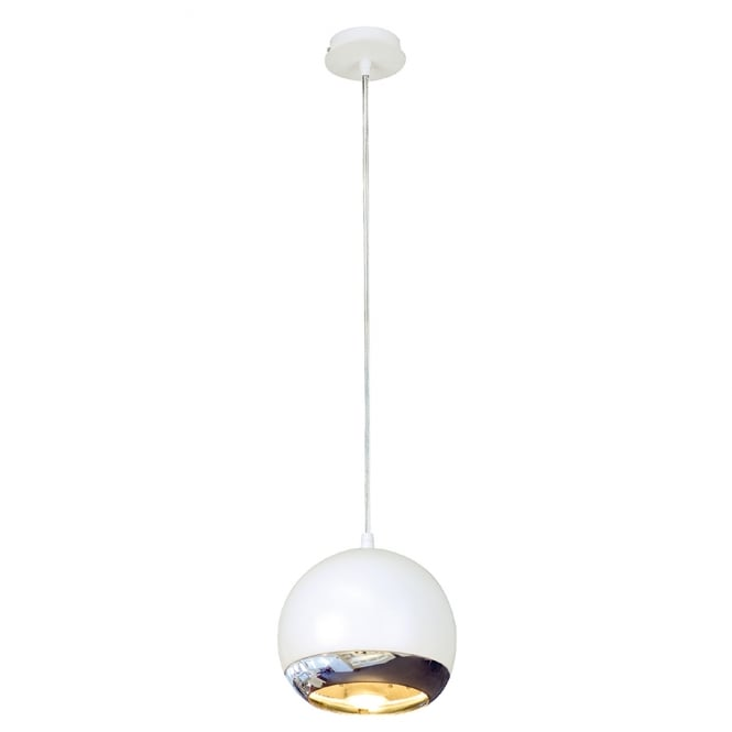 LIGHT EYE small white & chrome ceiling pendant light