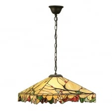 Tiffany Art Glass Ceiling Pendant with Chain Suspension
