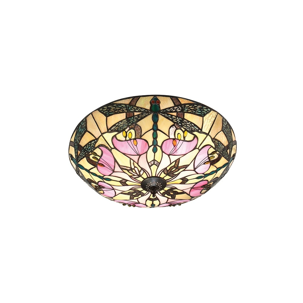 Decorative Tiffany Glass Flush Fit Ceiling Light with Dragonfly Design