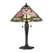 traditional Tiffany glass table lamp with bronze effect base