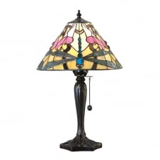 Tiffany dragonfly design table lamp with bronze effect base