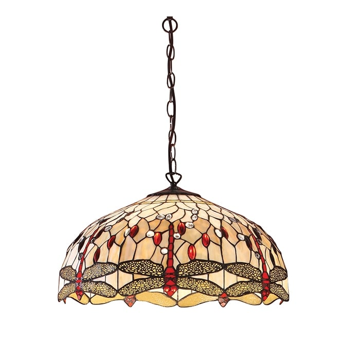 BEIGE DRAGONFLY large Tiffany ceiling pendant light