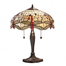 Tiffany Art Nouveau Beige Dragonfly Table Lamp