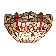 Tiffany wall washer light with dragonfly design
