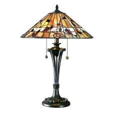 BERNWOOD Tiffany table lamp in warm earth colours