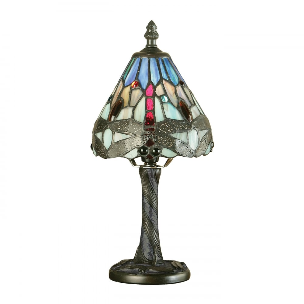 Small Miniature Tiffany Lamp Blue Dragonfly Pattern Aged