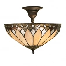 Tiffany Art Deco glass semi flush ceiling light
