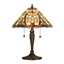 Tiffany pull cord switched table lamp