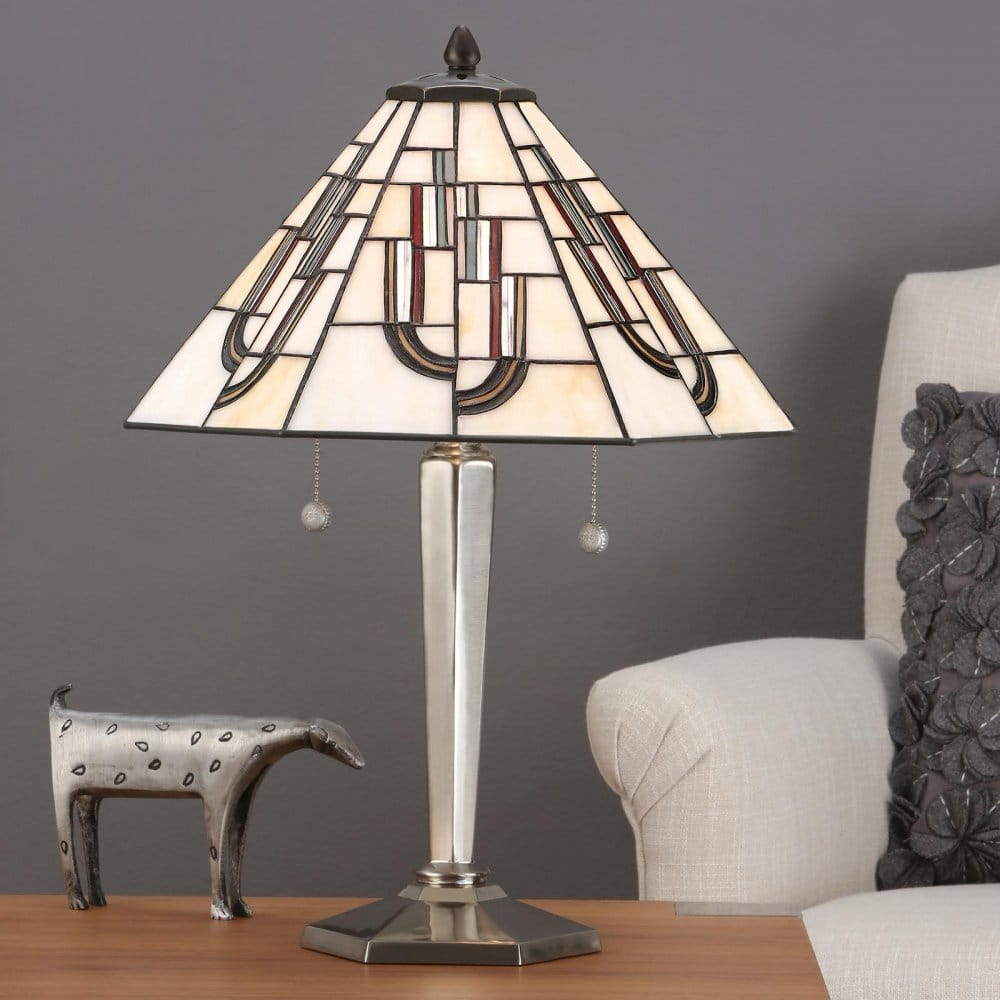 Lighting Chicago Il: Tiffany Art Deco Nickel Table Lamp With White & Coloured