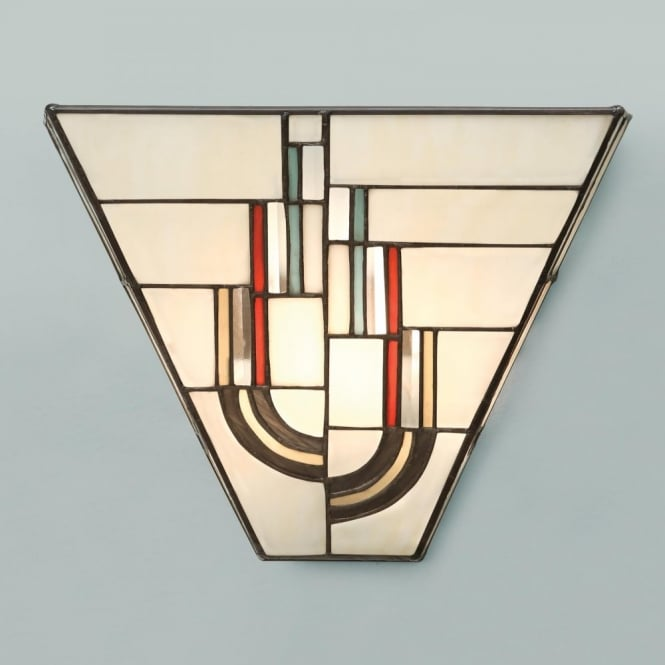 Tiffany Art Deco Wall Light with Decorative Stained Glass Shade.