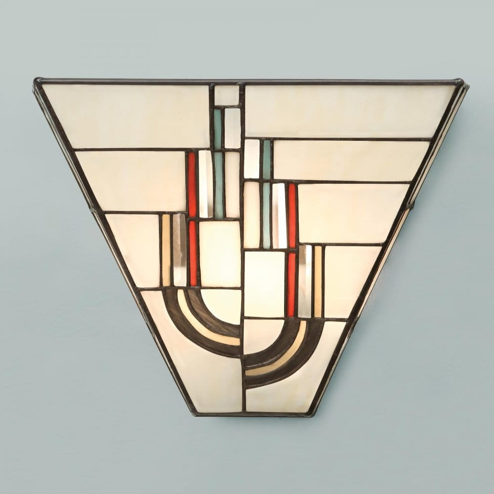Tiffany Glass Wall Lights : Tiffany Art Deco Wall Light with Decorative Stained Glass Shade.