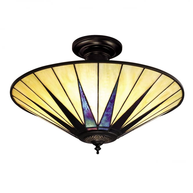Interiors 1900 DARK STAR Art Deco Tiffany uplighter for low ceilings