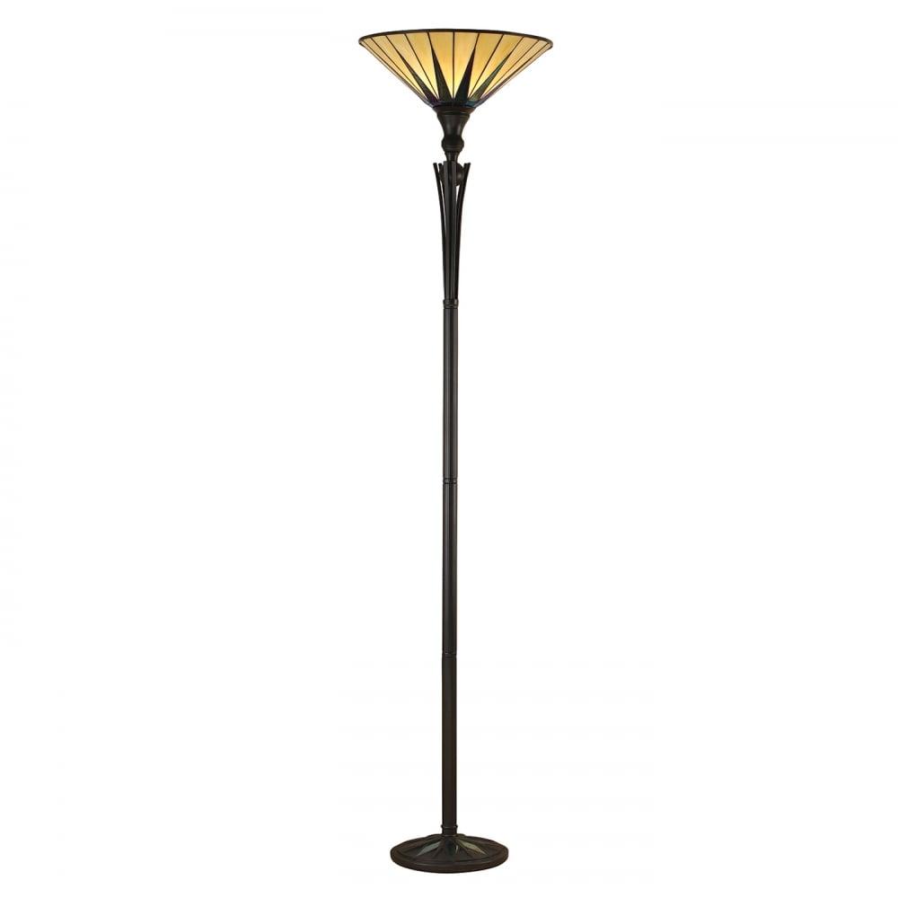 Tiffany dark star standard uplighter floor lamp black for Floor standing art deco lamp