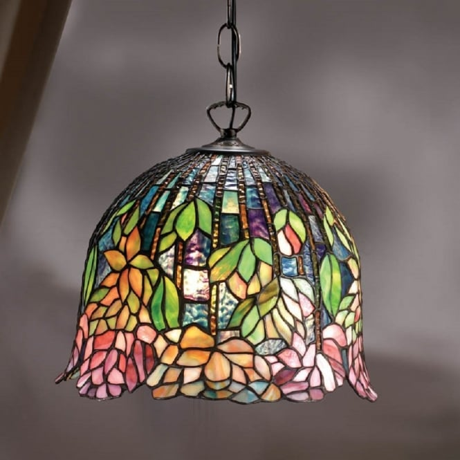 Interiors 1900 FLOWERING LOTUS Tiffany glass hanging ceiling pendant light