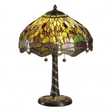 GREEN DRAGONFLY large Tiffany table lamp