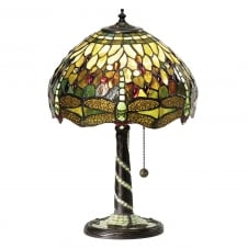 GREEN DRAGONFLY Tiffany glass table lamp