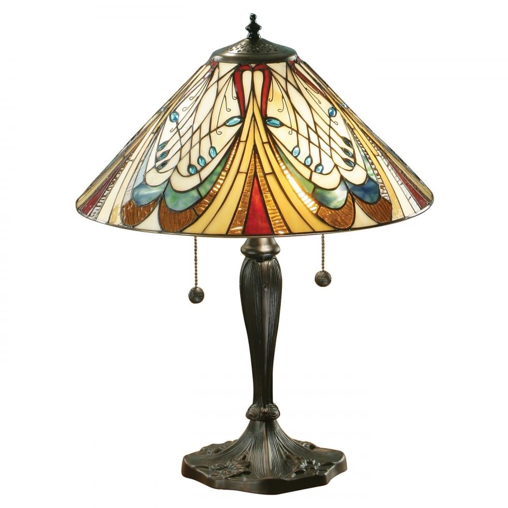 Hector tiffany table lamp in colourful stained glass art nouveau interiors 1900 hector art nouveau style tiffany table lamp geotapseo Choice Image