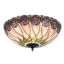 Tiffany flush fit ceiling light with rose design