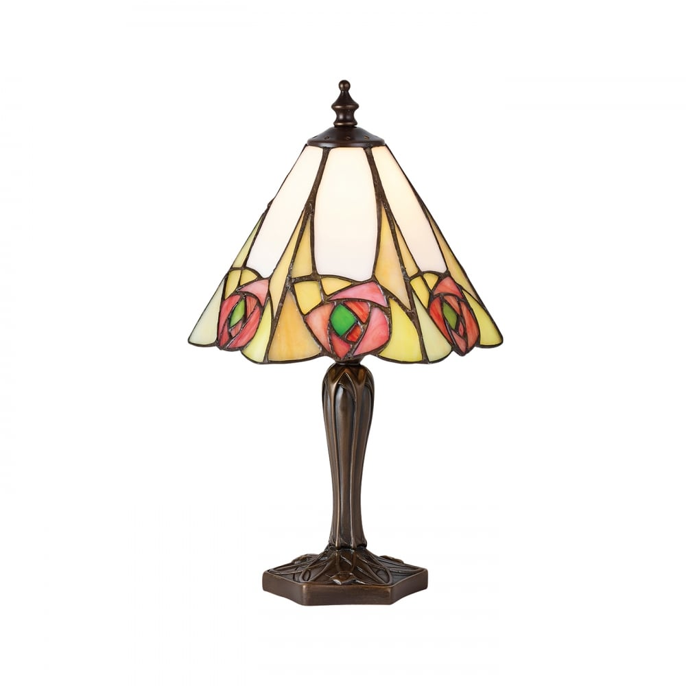 Small Art Nouveau Style Tiffany Table Lamp With Pink