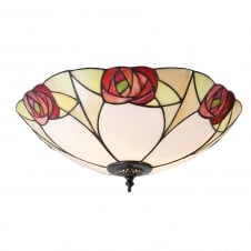 INGRAM Tiffany Art Nouveau flush light for low ceilings