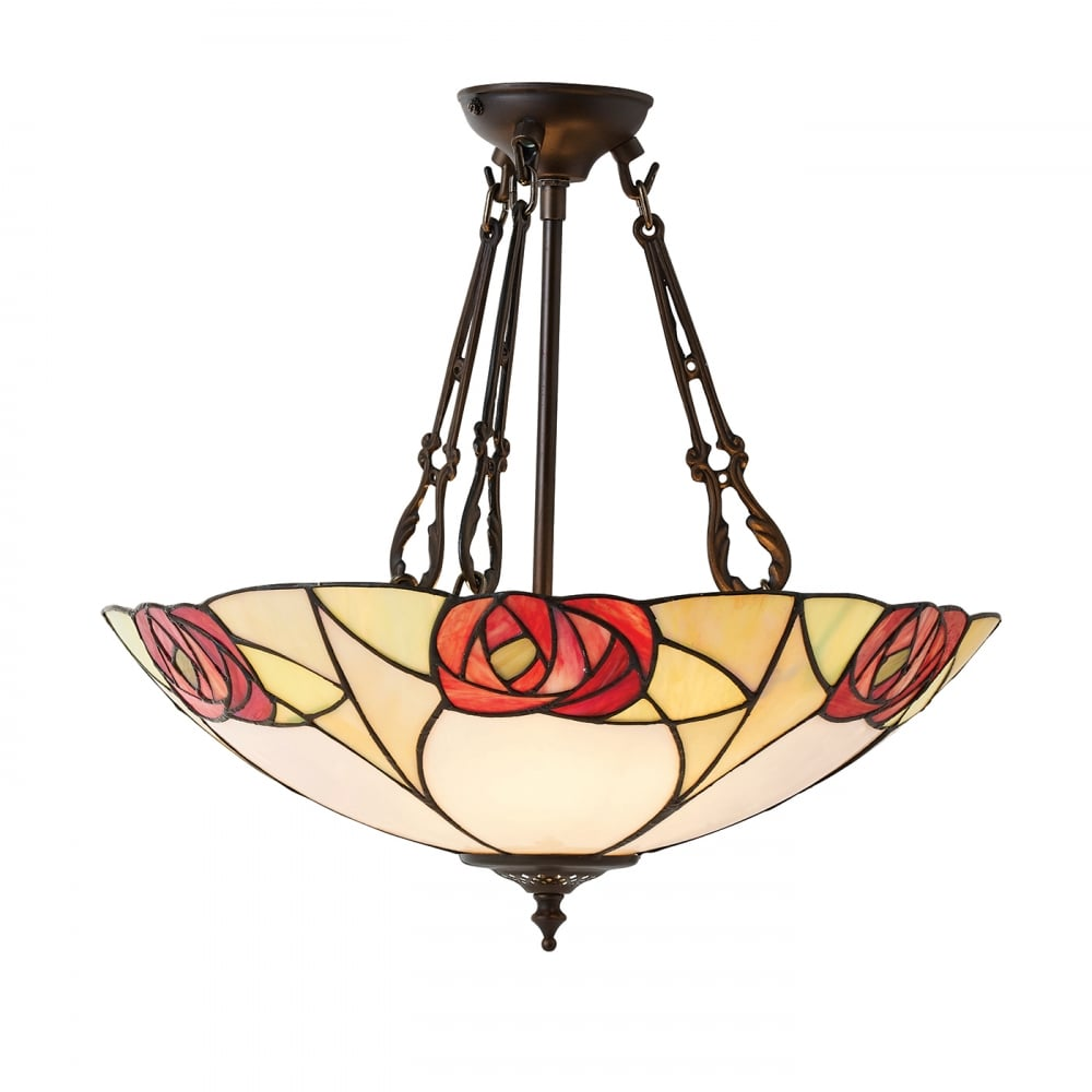 Tiffany Uplighter Ceiling Pendant Light With Art Nouveau
