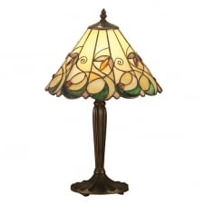 Tiffany Art Nouveau Table Lamp with Bronze Effect Base