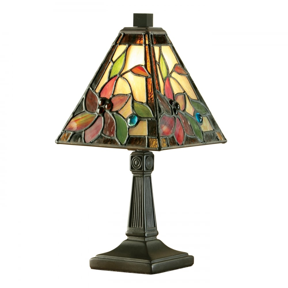 Mini tiffany table lamp with colourful floral stained glass shade lelani small mini tiffany glass table lamp mozeypictures Gallery
