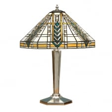 Tiffany Art Deco Table Lamp with Polished Aluminium Base