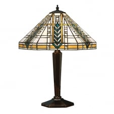 Tiffany Art Deco Table Lamp with Bronze Effect Base