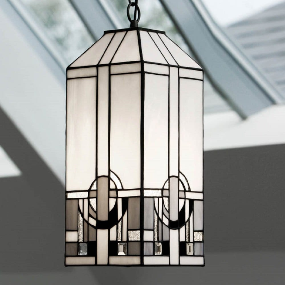 Art Deco Outdoor Hanging Lights: Art Deco Tiffany Hanging Lantern, Black And Silver On