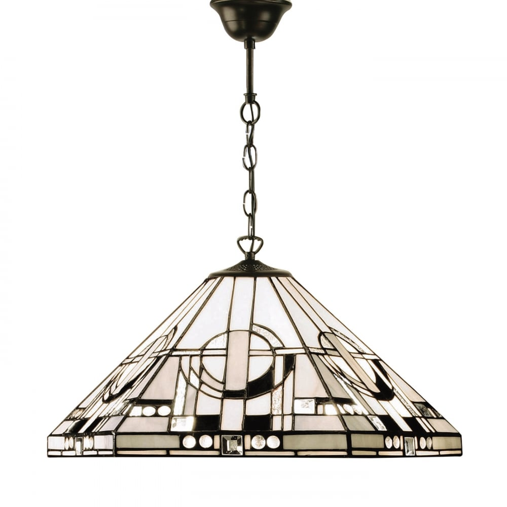 Art deco tiffany ceiling pendant light with black and white glass shade metropolitan tiffany art deco ceiling pendant light aloadofball Choice Image