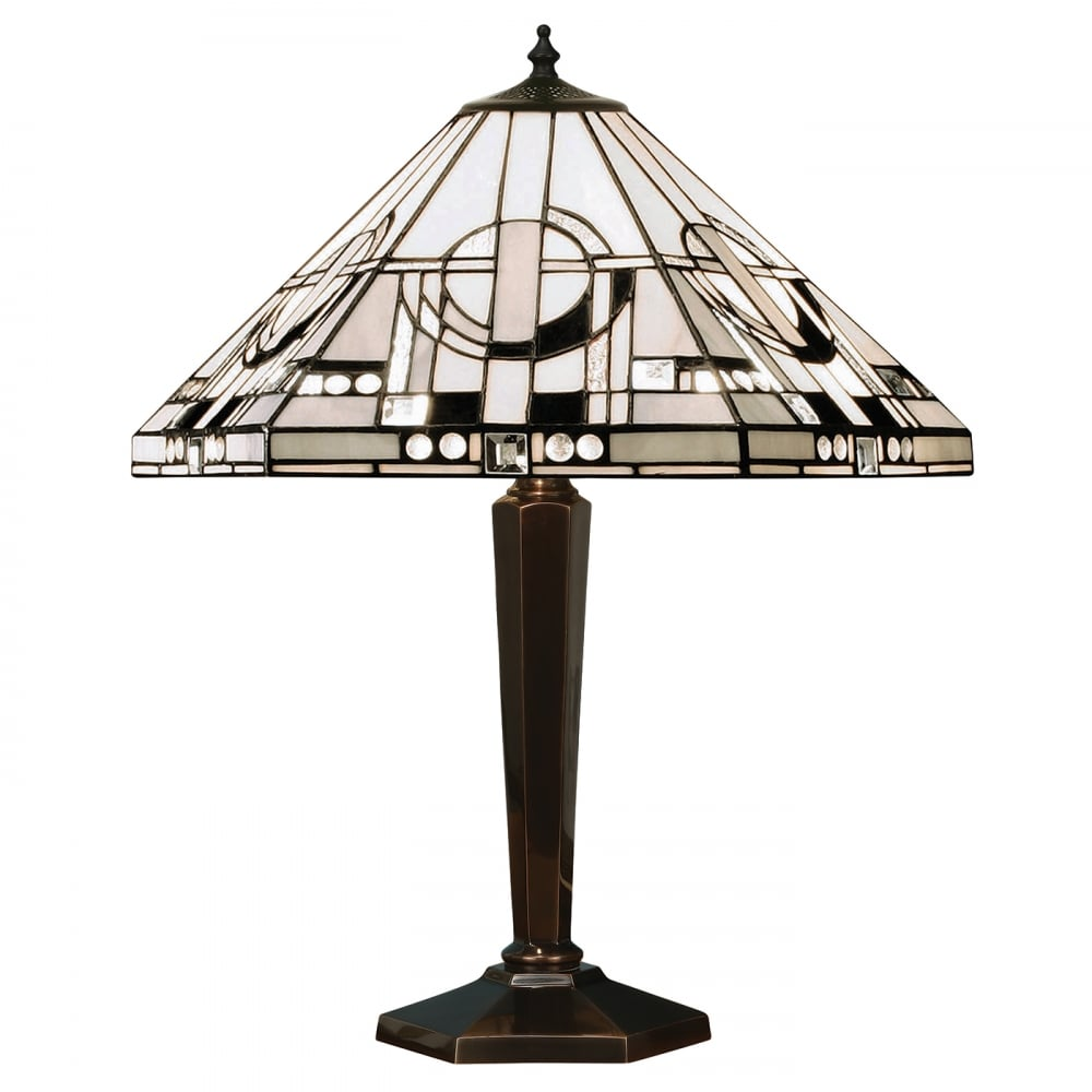 Art deco tiffany table lamp from interiors 1900 silver for Art deco style lamp