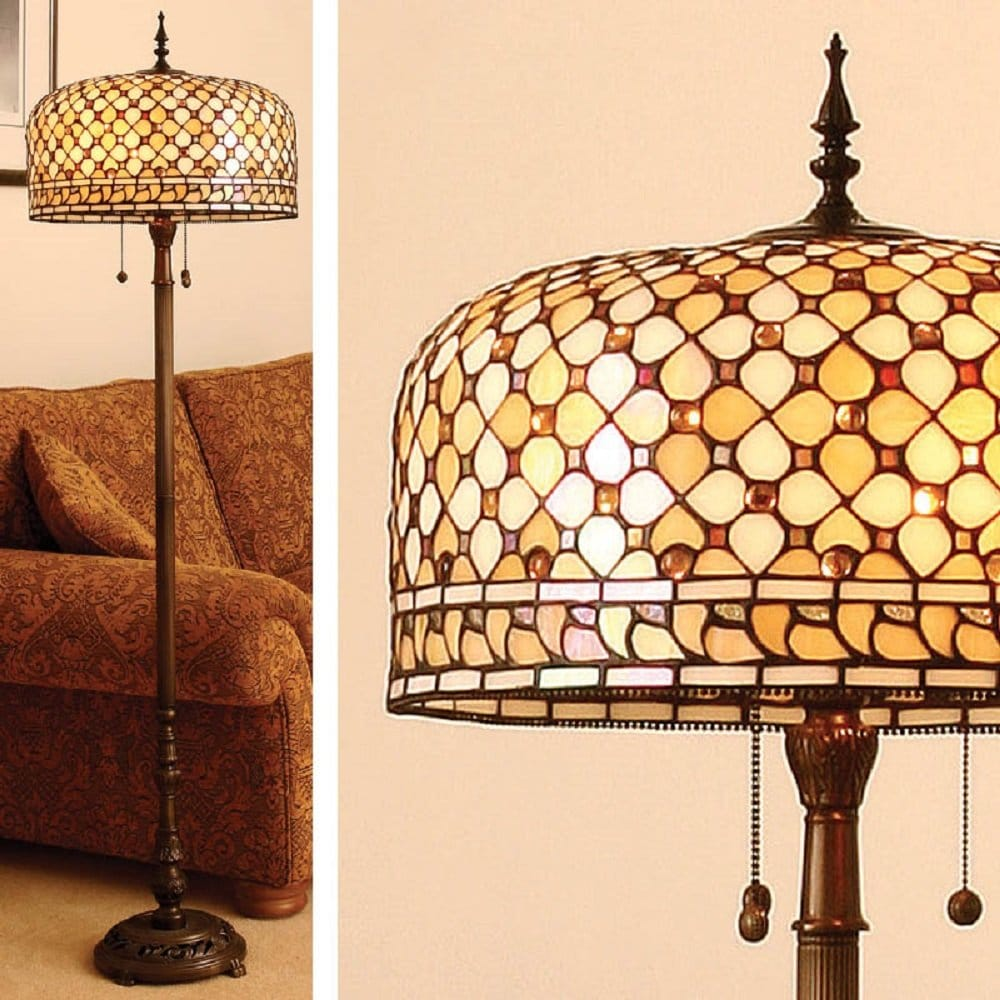 Tiffany Glass Standard Lamp, Antique Bronze Base
