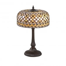 MILLE FEUX Tiffany table lamp in cream and amber colours