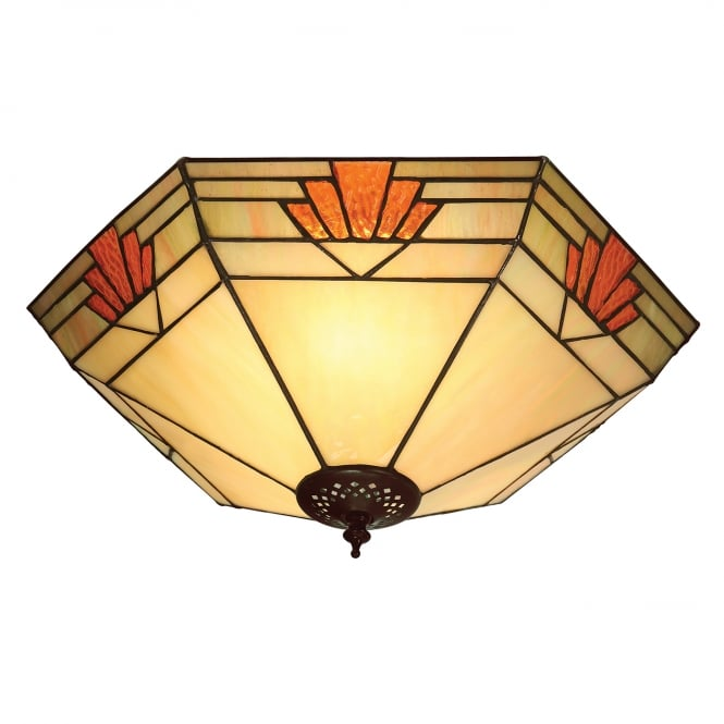 Interiors 1900 NEVADA flush fitting Tiffany light for low ceilings