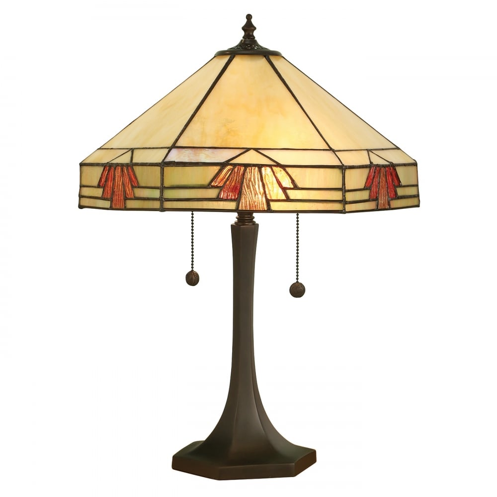Nevada art deco style tiffany table lamp in natural desert for Art deco style lamp