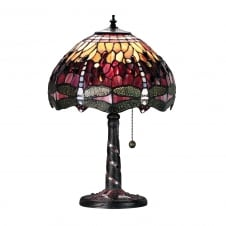 RED DRAGONFLY Tiffany glass table lamp, medium