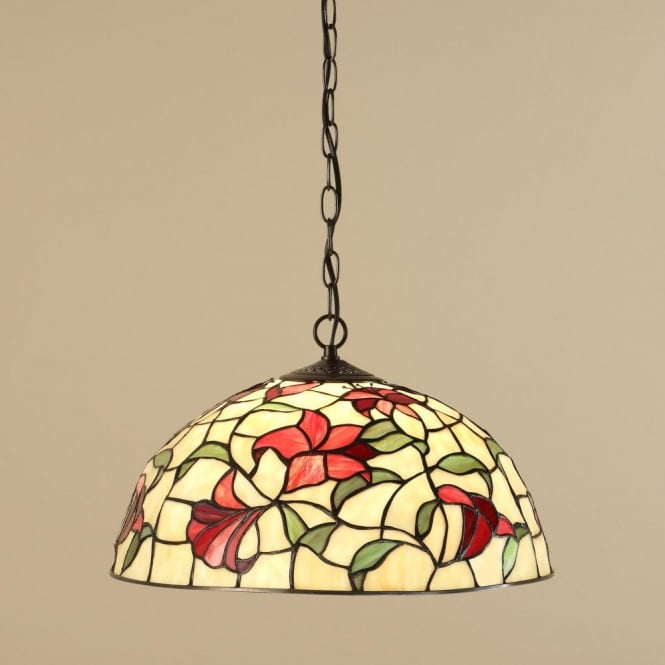 Interiors 1900 RED LILIES traditional Tiffany ceiling pendant