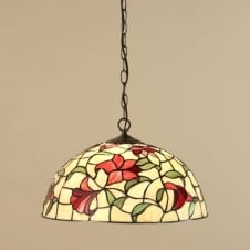 RED LILIES traditional Tiffany ceiling pendant